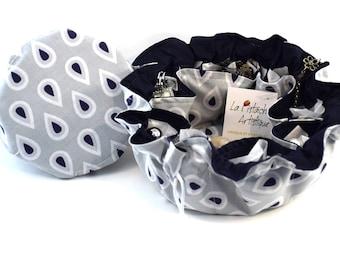 Jewelry pouch, Jewelry travel tote, Drawstring bag, Jewelry drawstring Bag, Jewelry Organizer, Diamond fabric, La Pistache Artistique