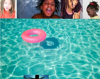 Small sized Black Dreadlock swim cap - great for kids - FREE SHIPPING -Afro, braids, dreadlocks shower cap swimcap