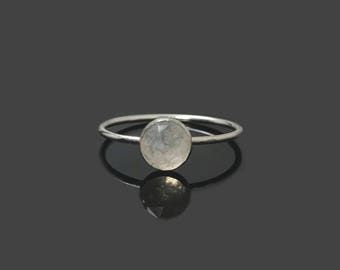 Moonstone Ring, Sterling Silver Moonstone Ring, Gemstone Stacking Ring