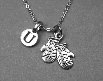 Mittens necklace, mittens charm, winter mittens, clothing necklace, personalized necklace, initial necklace, initial charm, monogram charm