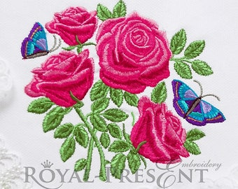 Machine Embroidery Design Garden roses with butterflies