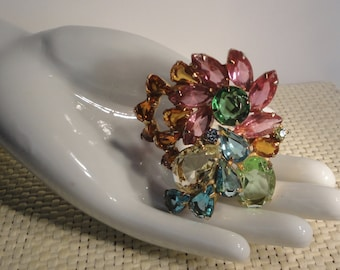 Vintage Gold tone Multi Colors and Shapes  Rhinestones Fruit Salad Brooch/Pin.