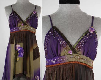 Vintage inspired upcycled camisole hand appliqué hand beading sequins hippie boho chic bohemian peasant gypsy top blouse size med