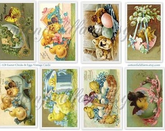 Easter Chicks and Eggs Vintage Postcards Digital Collage Sheet C-128