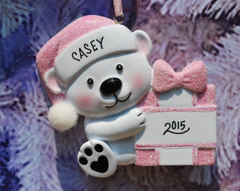 Personalized Baby Girl Bear with Present Christmas Ornament