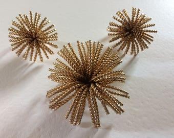 BERGERE Starburst Brooch & Earrings Demi Parure