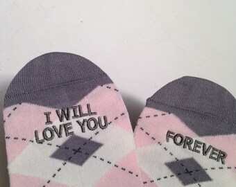 Argyle Grooms Socks 'I Will Love You Forever' Wedding Gift Idea, Mens Wedding Socks Gift from Bride, Groom Wedding Attire Accessory