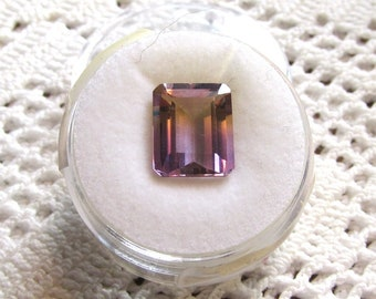 Ametrine 11x9mm Emerald-Shape Step-Cut Loose Gemstone