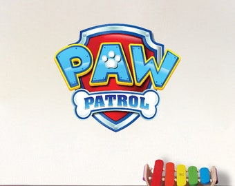 Paw Patrol Logo Wall Decal Sticker Removable Kids Wall Mural Zuma Chase Rocky Skyle Marshall Rubble Dogs Paw Patrol Theme Room Decor, e05