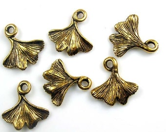 20 Gold Tierracast Gingko Leaf Charms
