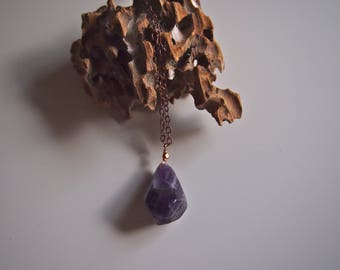 Long Copper Amethyst Necklace