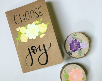 Hand Painted Notebook/Journal // choose joy quote