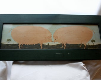 Two Pigs Framed Print, Long Rectangle 22 by 9 Inches