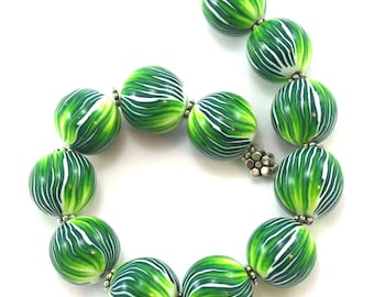 Palm green round beads for jewelry making DIY necklace bracelet gift for women, handmade Polymer Clay ball beads craft supplies, 12 pcs.