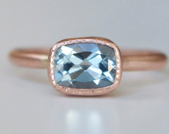 Aquamarine Ring in 14k Rose Gold -  Antique Cushion Cut Gemstone Ring - Millgrain Bezel Detail Ring -  Rose and Aquamarine