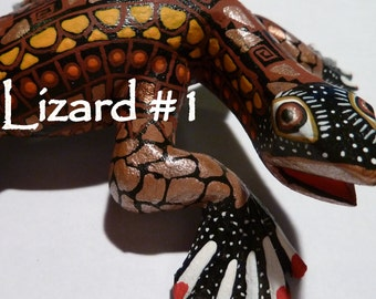 Crazy Curly Lizard Oaxacan Woodcarving Alebrijes by Zeny Fuentes