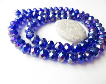 20 faceted Crystal rondelle beads 8x6mm blue night glossy