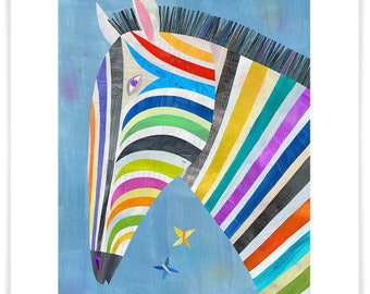 Colorful Zebra, Giclee Art Print, Safari Theme, Children's Room or Nursery Decor, Zebra Illustration