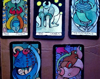 pre order - GHOSTS - ooak - NO plasticized 22  big Arcana Major Tarot Deck -water colors - only one hand made