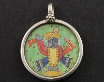 Hand Painted Sterling Silver Indian God Pendant with Jump Ring, Religious/Spiritual/Yoga/Meditation Jewelry Component 1 Charm, (TCH-13)
