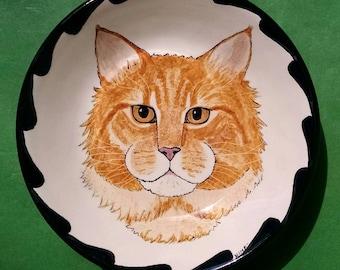 "PET PORTRAIT BOWL-7""- Your Cat or Dog handpainted on a bowl"