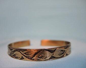 handmade etched brass metal cuff bracelet