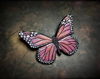Pink butterfly tooled leather brooch (or hair barrette) - Hand tooled leather gift for her - Original accessory