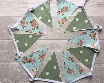 Handmade Outdoor Waterproof Bunting | Sage & Floral