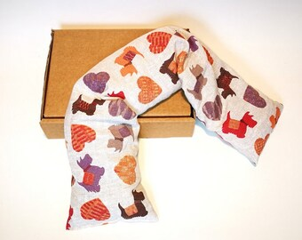 Pillow with flax seeds for cervical, knitted, muscle aches, high fever (930gr.-58x12x2cm) Hot cold-dogs and hearts