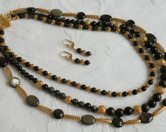 Golden Sheen Obsidian Triple-Strand Necklace and Earring Set
