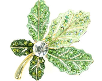 Emerald Green Brooch, Emerald Green Broach, Iridescent Green Rhinestone Leaf Jewelry Component, DIY Craft Project Embellishment