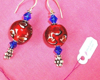 GORGEOUS! RED Earrings - Murano Glass, Blue Swarovski Crystal beads, Solid Sterling Silver, RedRobinArt, Grigsby Gallery