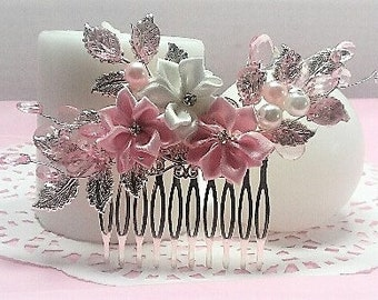 Polyester Pink and White Rosette Flower Hair Comb with Silve Leaves and Pink Beaded Vines.  Also has matching pink and white pearls.