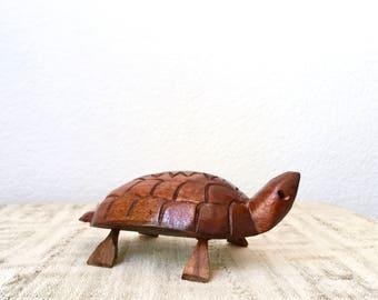 Vintage Carved Wooden Turtle Figurine, Jamaica