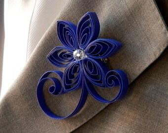 Royal Blue Boutonniere, Horizon Wedding Buttonhole, Classic Blue Wedding Boutonniere, Blue Men's Accessory, Cobalt Wedding