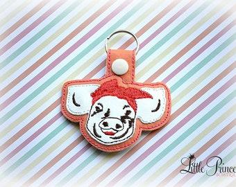 Pig with Bandana Keychain, Pig Keychain, Pig Snap Tab
