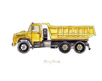 "Dump Truck construction watercolor print, 8x10"""