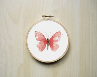Pink Watercolor Butterfly Modern Counted Cross Stitch Pattern | Instant PDF Download