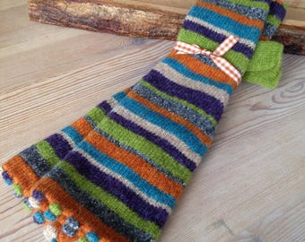 Fingerless Striped Mitts, Pure Wool, Arm Warmers, Bright Fingerless Gloves with Bobbles