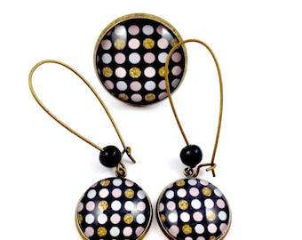 Bronze set - Cabochon - polka dots * black gold grey Rose (earrings + large ring)