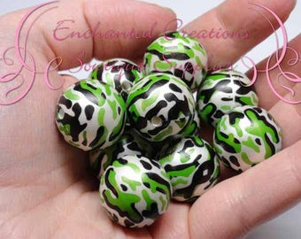 20mm vert, noir et blanc Camo perles impression, imprimer cliquez, Gumball perles, perles imprimées, grosses perles, perles de gros bijoux