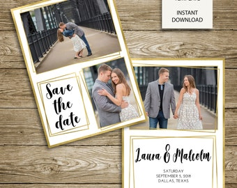 INSTANT DOWNLOAD - Photoshop Template - Framed Save Our Date Engagement Announcement