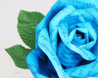 Blue Paper Rose Handmade from The Rosie Project