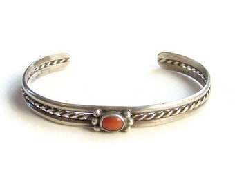 Navajo Coral and Sterling Silver Stacking Cuff Bracelet Native American Vintage