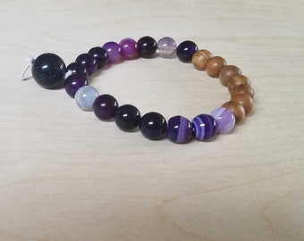 Meditation/Prayer/Mala/Yoga/Anxiety Purple  Agate, Olive Wood, and Sandstone  Bead Bracelet