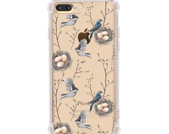iPhone 6/6s, iPhone 7, iPhone 8 and iPhone X Shock Absorption Case, Watercolor Bird Nest