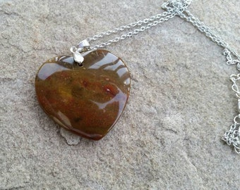 Delicate Nice Natural Old Ocean Jasper Love Heart Pendant Bead Necklace with 18 kgp stamped bail 45*43*6mm - Women's Gift Ideas