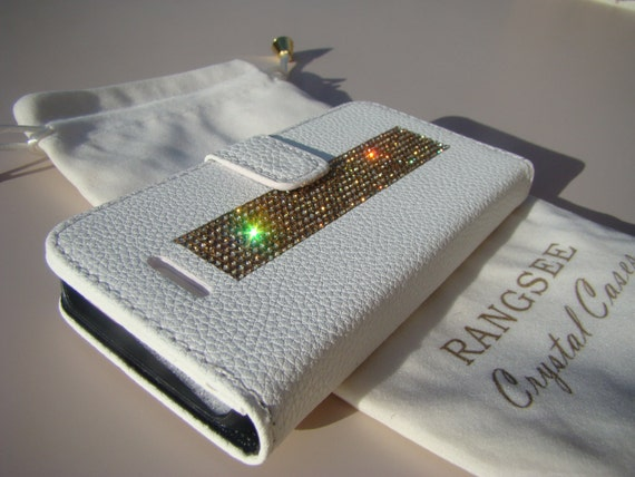 iPhone SE Case /5/ 5s Gold Topaz Rhinestone Crystals on White Wallet Case. Velvet/Silk Pouch bag Included, Genuine Rangsee Crystal Cases.