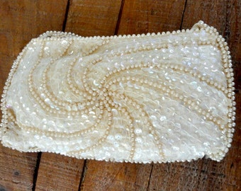 Vintage White Sequin Wristlet, Evening Bag, Formal Purse