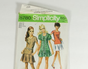 Simplicity 8780 - Vintage 1970 Pattern - Juniors and Misses Two-Piece Dress - Size 12